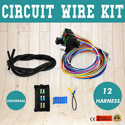 universal 12 circuit mini hot rod wiring harness $130 00 picclick street rod wiring diagram 12 circuit universal wire harness muscle car hot rod street rod xl wires