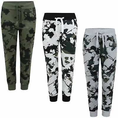 Boys Girls Camouflage Tracksuit Bottoms Teenagers Joggers Kids Sweatpants 3-14 Y