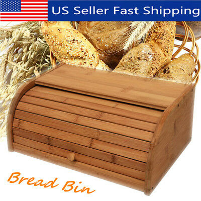 Bamboo Wooden Bread Box Roll Up Storage Bin Keeper Food Container Home Kitchen