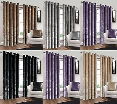 Natural Crushed Velvet Curtains Pair Eyelet Ring Top Fully Lined Cushion Curtain