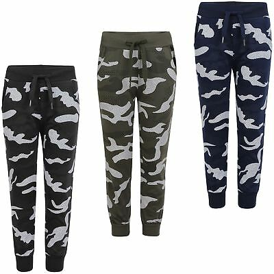 Boys Girls Camo Dot Print Tracksuit Bottoms Teens Joggers Kids Sweatpants 3-14 Y