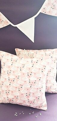 Nursery cushion covers pink swan princess 100% cotton pink and white set of 2