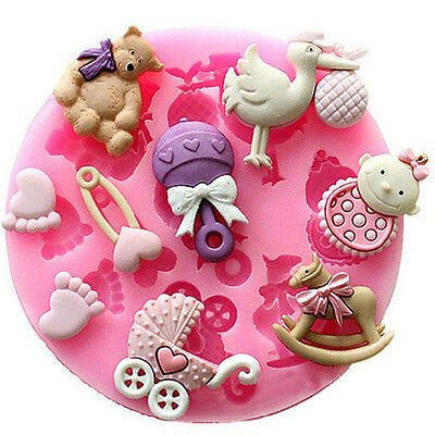 Baby Shower Silicone Fondant Cake Mold Mould Chocolate Baking Sugarcraft Decor