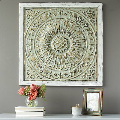 Large Decorative Distressed Vintage Embossed Medallion Metal Wood Wall Panel Art