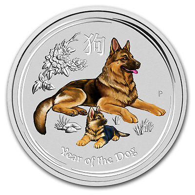 2018 Australia 1/2 oz Silver Lunar Dog BU (Colorized) - SKU#161441