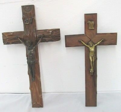 TWO Antique HANGING WOOD Cross CruciFix METAL FigureS Religious INRI