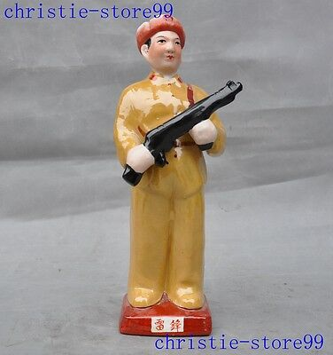 Collect Old Chinese wucai porcelain Lei Feng great Soldier glory warrior statue