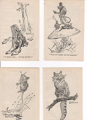 ALICE IN WONDERLAND set 4 vintage 1930's bookplates illustrations Harry Rountree