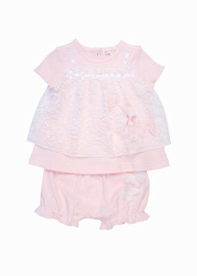 💕 Mintini Baby Girls Pale Pink Dress Knickers Set Lace 12, 18 & 24 Months Bnwt