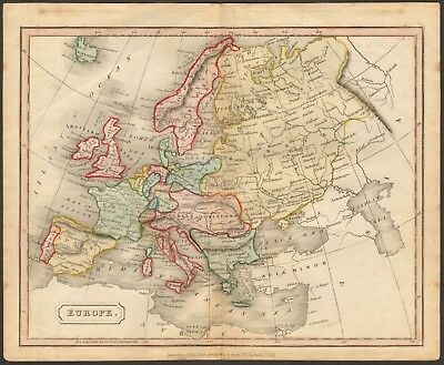 1815 ca ANTIQUE MAP - HAND COLOURED - EUROPE
