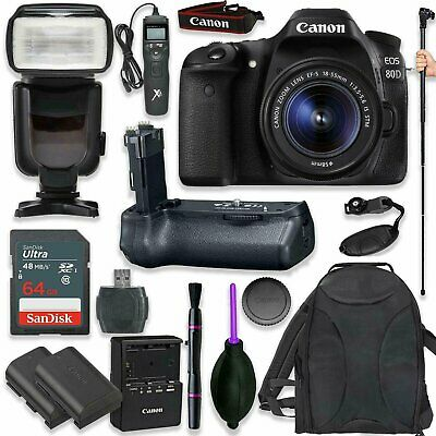 Canon EOS 80D Digital Kit with EF-S 18-55mm f/3.5-5.6  STM Lens (17 items)