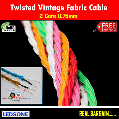 Twisted 2 Core Braided Fabric Electric Vintage Cable in Multi Colour Top Quality