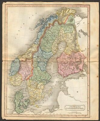 1815 ca ANTIQUE MAP - HAND COLOURED - DENMARK, SWEDEN AND NORWAY