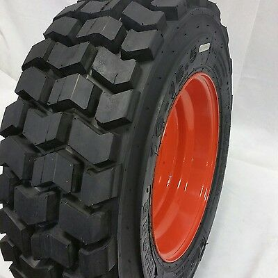 10-16.5 Road Warrior (4-Tires+Rims) 12 Ply 10X16.5 Skid Steer Tires For Bobcat