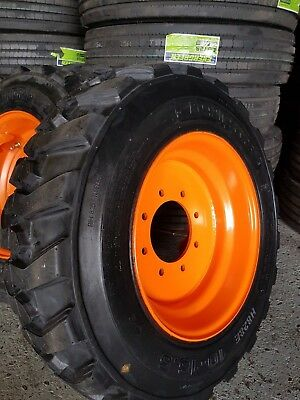 10-16.5 Road Warrior (4-Tires+Rims) 14 Ply 10X16.5 Skid Steer Tires For Bobcat