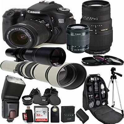 Canon EOS 70D Digital Camera Kit with 18-55mm STM + Accessory Bundle (25 Items)