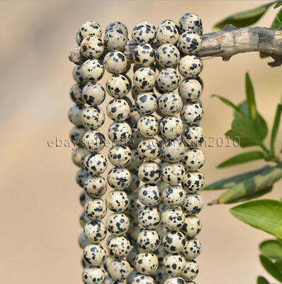 Natural Dalmation Spot Jasper Gemstone Round Beads 15'' 4mm 6mm 8mm 10mm 12mm