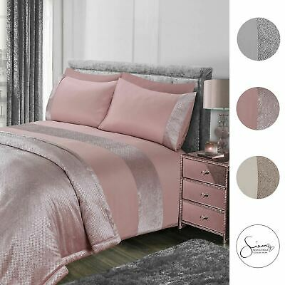 Sienna Glitter Duvet Cover with Pillow Case Sparkle Velvet Bedding Set Grey Pink