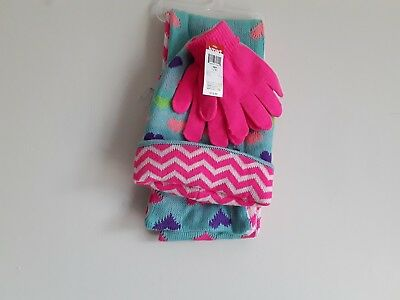 Girls winter scarf, glove and hat set. New with tags pink, blue-green