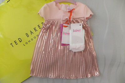 226929b57 Ted Baker Baby Girls Light Pink pleated Dress & Tights Set Dress BNWT 9-12