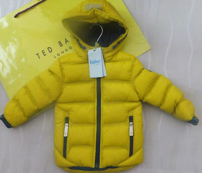Ted Baker Boys Yellow Padded Shower Resistant Coat Jacket Bnwt Age 2-3