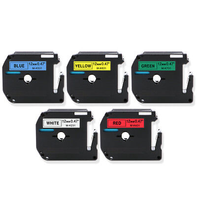 "5PK  Compatible Brother Color Label Tapes 1/2"" MK231 MK431 MK531 MK631 MK731"