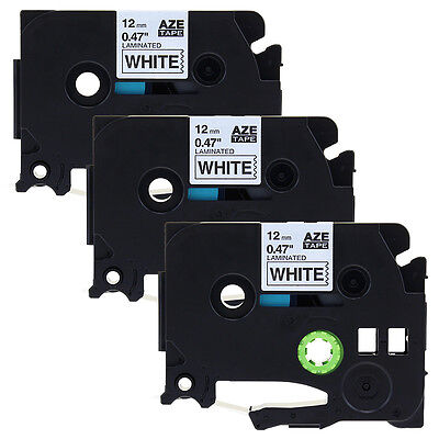 3PK Compatible for Brother TZe-231 P-Touch Label Tape Black on White 12mm 26.2ft