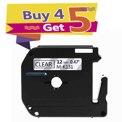 Compatible for Brother P-Touch M-K131 Black on Clear MK131 Label Tapes 12mm M131