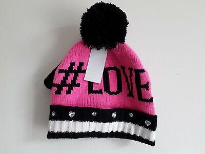 Girls hat and gloves set size S/M New with tags pink, black and white.