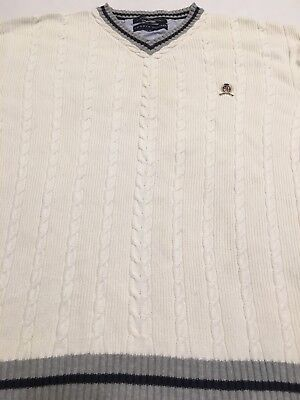 Tommy Hilfiger 90's Off-White/Ivory V-Neck Cableknit VTG Vintage Sweater XL
