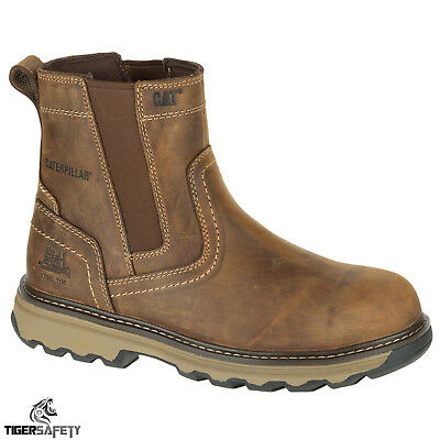 Caterpillar CAT Pelton S1P SRC Brown Steel Toe Cap Safety Chelsea Dealer Boots