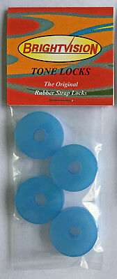 Eight ICE-BLUE Rubber Guitar Strap Locks - Classic Design & Great Reliability