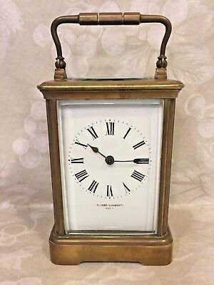 Antique French Repeater Carriage Clock Running? Brass Case