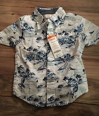 Gymboree Jawsome Boys Short Sleeve Button Up Shirt Size 18-24 Months Nwt