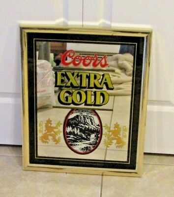 Coors Extra Gold Beer Mirror Sign Bar Pub Man Cave 1988