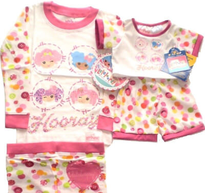 Build a Bear Lalaloopsy Size 4 Girls PJs with Matching Teddy Size Pajamas Set