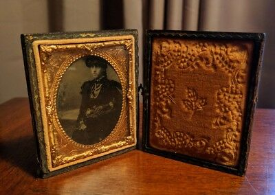 Antique 1800's Victorian Ornate Lady Tin Leather Velvet Frame Picture Steampunk