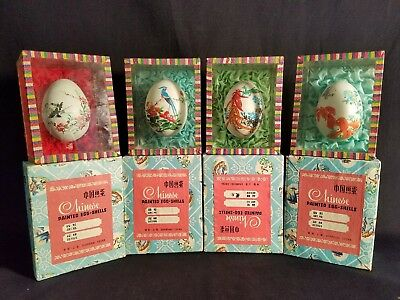 4 Chinese Painted Easter Egg Shells In Glass Boxes Shanghai China