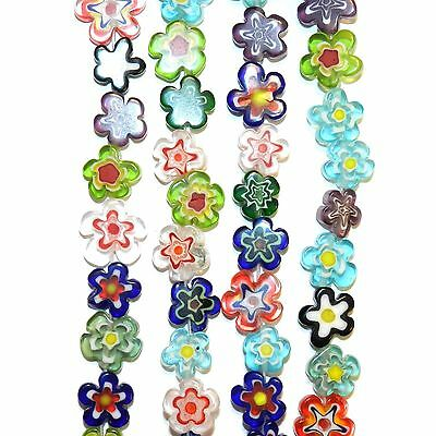 """G4240 Assorted Color 10mm - 15mm Flat Flower Shaped Millefiori Glass Beads 16"""""""