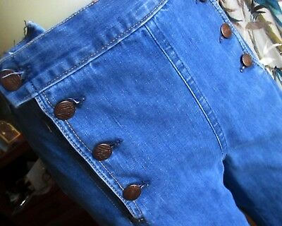 26x31 True Vtg 70s HIGH WAIST LIBERY BUTTON DENIM DISCO POCKET BELLBOTTOM JEANS
