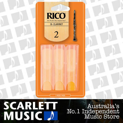Rico Bb Clarinet Reeds 3 Pack Reed Size 2 / Two RCA-0320 3PK