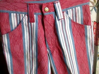 24x25 true Vtg 70s Boys FARAH RED/BLUE STRIPE BOOTCUT FLARE DENIM HIPPIE JEANS
