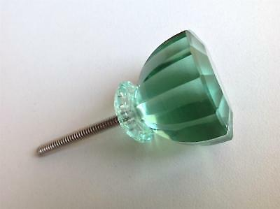 Antique Vintage Style Mint Green Glass Crystal Cabinet Knob Seconds