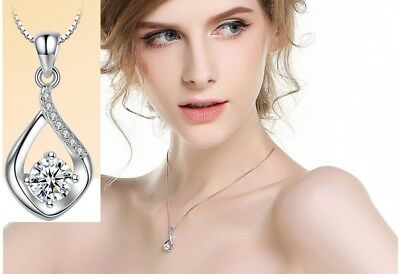 "Sterling Silver Topaz CZ Waterdrop Heart Pendant Necklace 18"" Chain Box Gift K39"