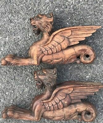 Pair Of Matching Victorian Carved Wood 19th Century Griffon Decorative Figures.