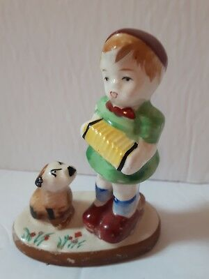 """little boy playing accordian with his dog figurine Occupied Japan 4"""" collectable"""