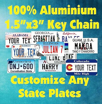 "50 States Any Text Personalize Custom 1.5""x3""  Key Chain Tag License Plate"