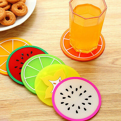 6pcs Colorful Fruit Coaster Silicone Cup Drinks Holder Mat Tableware Placemat EF