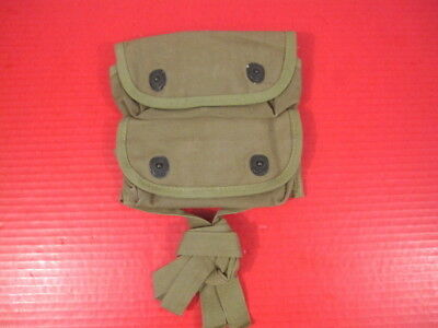 WWII Era USMC Canvas 2-Pocket Grenade Carrier Belt Pouch - Unissued - RARE