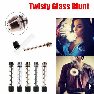 Newly Designed Twisty Glass Blunt Obsolete With Cleaning Brush Set Random Color